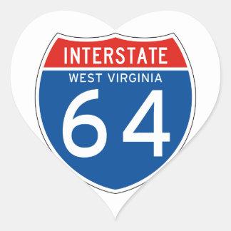 Interstate Sign 64 - West Virginia Heart Sticker