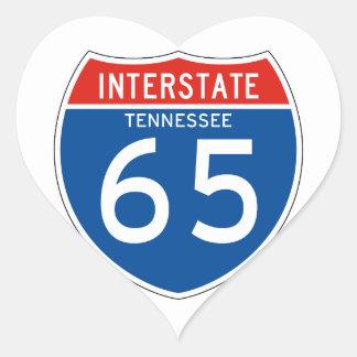 Interstate Sign 65 - Tennessee Heart Sticker