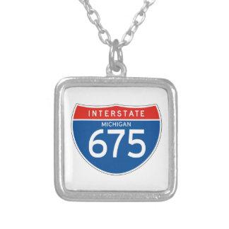 Interstate Sign 675 - Michigan Square Pendant Necklace