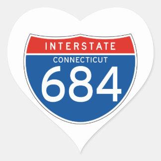 Interstate Sign 684 - Connecticut Heart Sticker