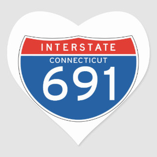 Interstate Sign 691 - Connecticut Heart Stickers