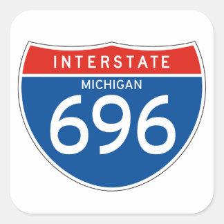 Interstate Sign 696 - Michigan Square Sticker