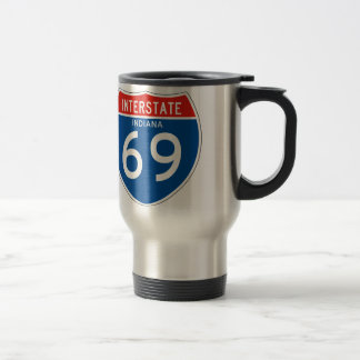 Interstate Sign 69 - Indiana 15 Oz Stainless Steel Travel Mug