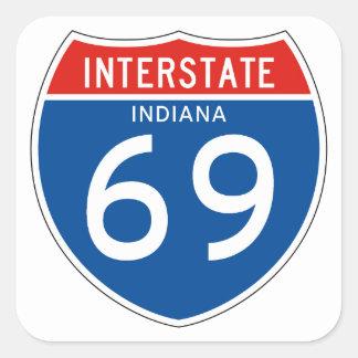 Interstate Sign 69 - Indiana Square Sticker