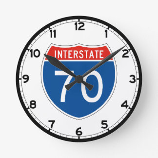 Interstate Sign 70 - Colorado Round Clock