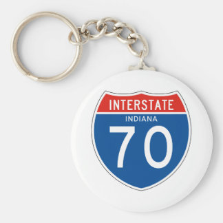 Interstate Sign 70 - Indiana Basic Round Button Keychain