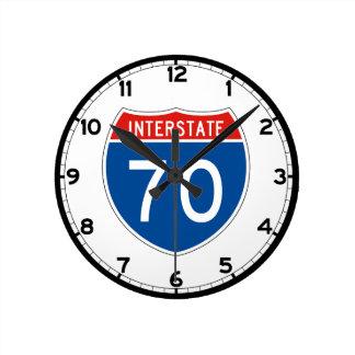 Interstate Sign 70 - Indiana Round Clock