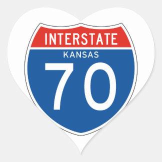 Interstate Sign 70 - Kansas Heart Sticker
