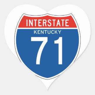 Interstate Sign 71 - Kentucky Heart Sticker