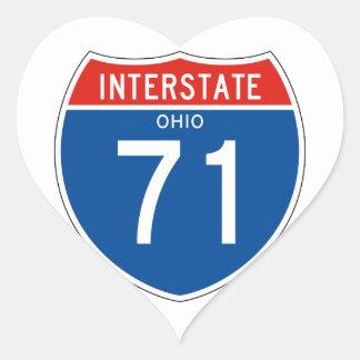 Interstate Sign 71 - Ohio Heart Sticker