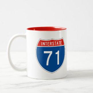 Interstate Sign 71 Two-Tone Coffee Mug