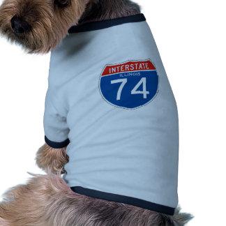 Interstate Sign 74 - Illinois Doggie Tshirt
