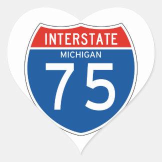 Interstate Sign 75 - Michigan Heart Sticker