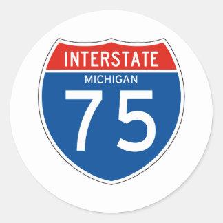 Interstate Sign 75 - Michigan Classic Round Sticker