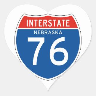 Interstate Sign 76 - Nebraska Heart Sticker