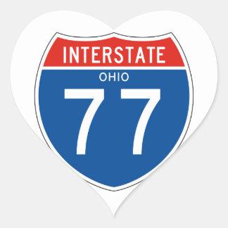 Interstate Sign 77 - Ohio Heart Sticker