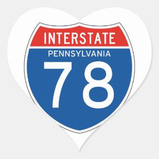 Interstate Sign 78 - Pennsylvania Heart Sticker