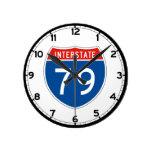 Interstate Sign 79 - Pennsylvania Round Wall Clock