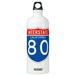 Interstate Sign 80 - California Aluminum Water Bottle