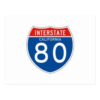 Interstate Sign 80 - California Postcard