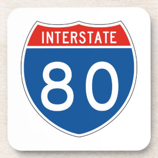 Interstate Sign 80 Drink Coasters
