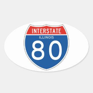Interstate Sign 80 - Illinois Oval Sticker