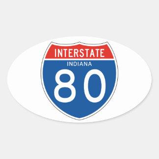 Interstate Sign 80 - Indiana Oval Sticker