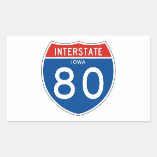 Interstate Sign 80 - Iowa Rectangular Sticker