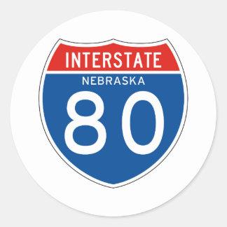 Interstate Sign 80 - Nebraska Classic Round Sticker