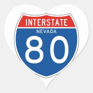 Interstate Sign 80 - Nevada Heart Sticker