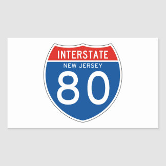 Interstate Sign 80 - New Jersey Rectangular Sticker