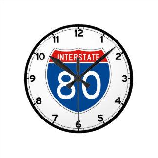Interstate Sign 80 - Utah Round Clock