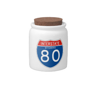 Interstate Sign 80 - Wyoming Candy Dishes