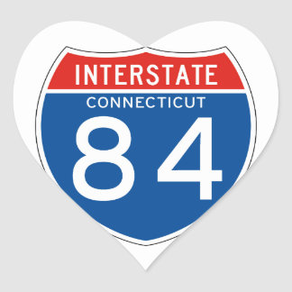 Interstate Sign 84 - Connecticut Heart Sticker
