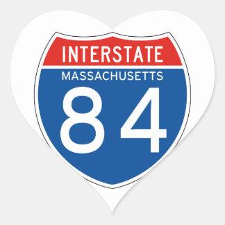 Interstate Sign 84 - Massachusetts Heart Sticker