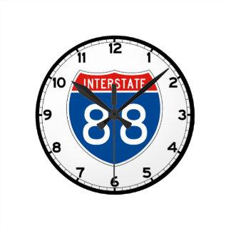 Interstate Sign 88 - New York Round Clock