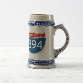 Interstate Sign 894 - Wisconsin 18 Oz Beer Stein