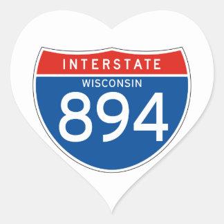 Interstate Sign 894 - Wisconsin Heart Sticker