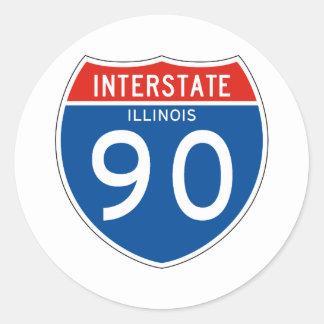 Interstate Sign 90 - Illinois Classic Round Sticker