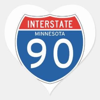 Interstate Sign 90 - Minnesota Heart Sticker