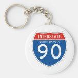Interstate Sign 90 - South Dakota Basic Round Button Keychain