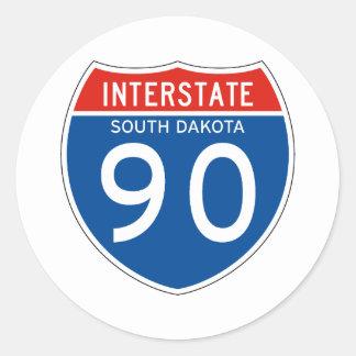 Interstate Sign 90 - South Dakota Classic Round Sticker