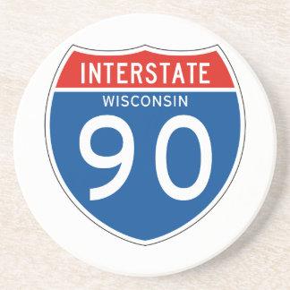 Interstate Sign 90 - Wisconsin Coaster