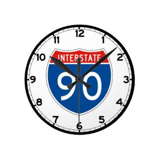 Interstate Sign 90 - Wyoming Round Clock