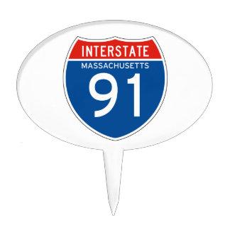 Interstate Sign 91 - Massachusetts Cake Topper