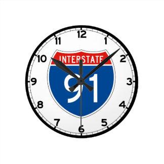 Interstate Sign 91 - Massachusetts Round Clock