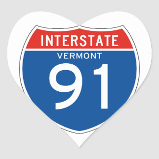 Interstate Sign 91 - Vermont Heart Sticker