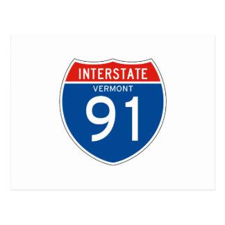 Interstate Sign 91 - Vermont Postcards