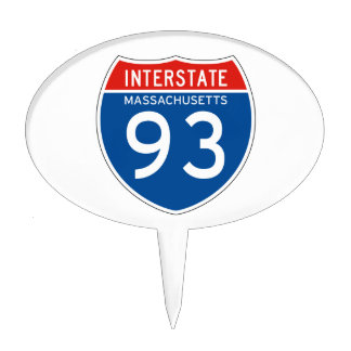 Interstate Sign 93 - Massachusetts Cake Toppers