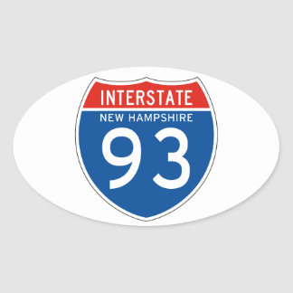 Interstate Sign 93 - New Hampshire Oval Stickers